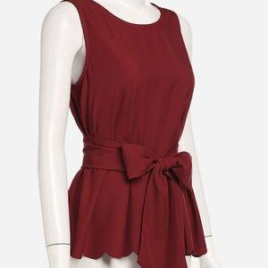 Tops - New Tie Belted Scallop Sleeveless Blouse